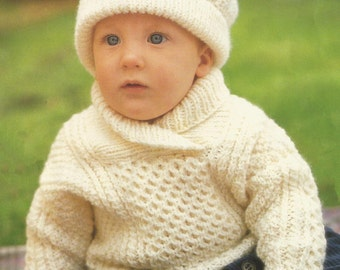 6ad25eea5354 Crochet Baby Cardigan Sweater and Hat Vintage Pattern toddler ...