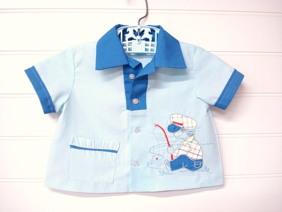 Vintage Baby Clothes Baby Boy Shirt Baby Boy Fishing Theme