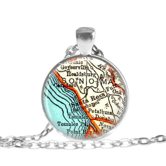 Sonoma, map jewelry necklace charm, Santa Rosa, Wine country, California map necklaces, grandma keychain, sonoma necklace, A142