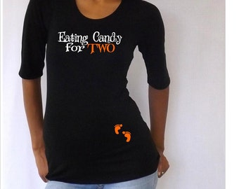 "Maternity Halloween shirt "" Eating Candy for TWO""   Cute maternity costume- Pregnancy clothes"