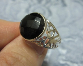 Faceted Black Onyx Sterling Silver Ring Size 6