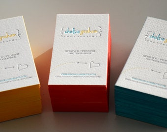 Letterpress Business Cards - Cotton Paper - Customized - 3 colors front - Color Edges