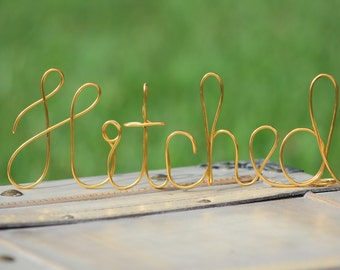 Gold Wire Hitched Wedding Cake Toppers - Decoration - Beach wedding - Bridal Shower - Bride and Groom - Rustic Country Chic Wedding