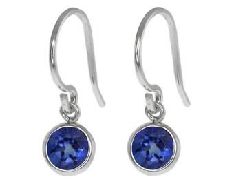 1 Carat Blue Sapphire Bezel Round Dangle Earrings .925 Sterling Silver Rhodium Finish