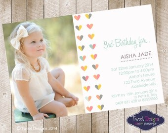 Hearts Photo Girl Birthday Invitation, Modern Birthday Invitations