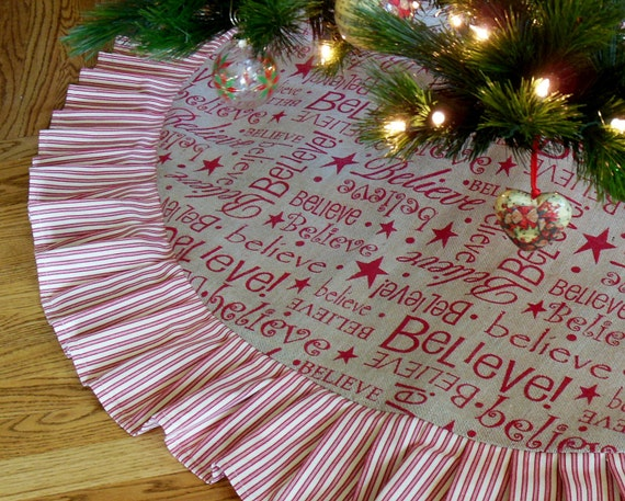 Items Similar To Burlap Christmas Tree Skirt, BELIEVE