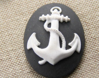 12 pcs of resin  anchor cameo 30x40mm-0331-white on black