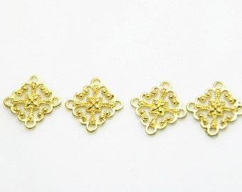 6 pcs of brass filigree charm 15x15mm-1691-raw brass