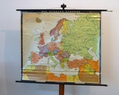 Map of Europe School Chart -  Vintage Europa Map School Chart - Made in Germany-Haack Painke