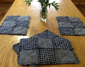 Homespun Rag Quilt-style Placemats - Blue
