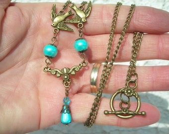 My BIRD brass necklace victorian style with aqua fx PEARL & tear drop with swarovski CRYSTAL beads