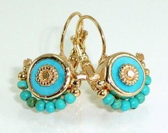 Turquoise Earrings, Turquoise Gold Dangle Earrings, December Birthstone, 24k Gold post Gemstones Drop Earrings.