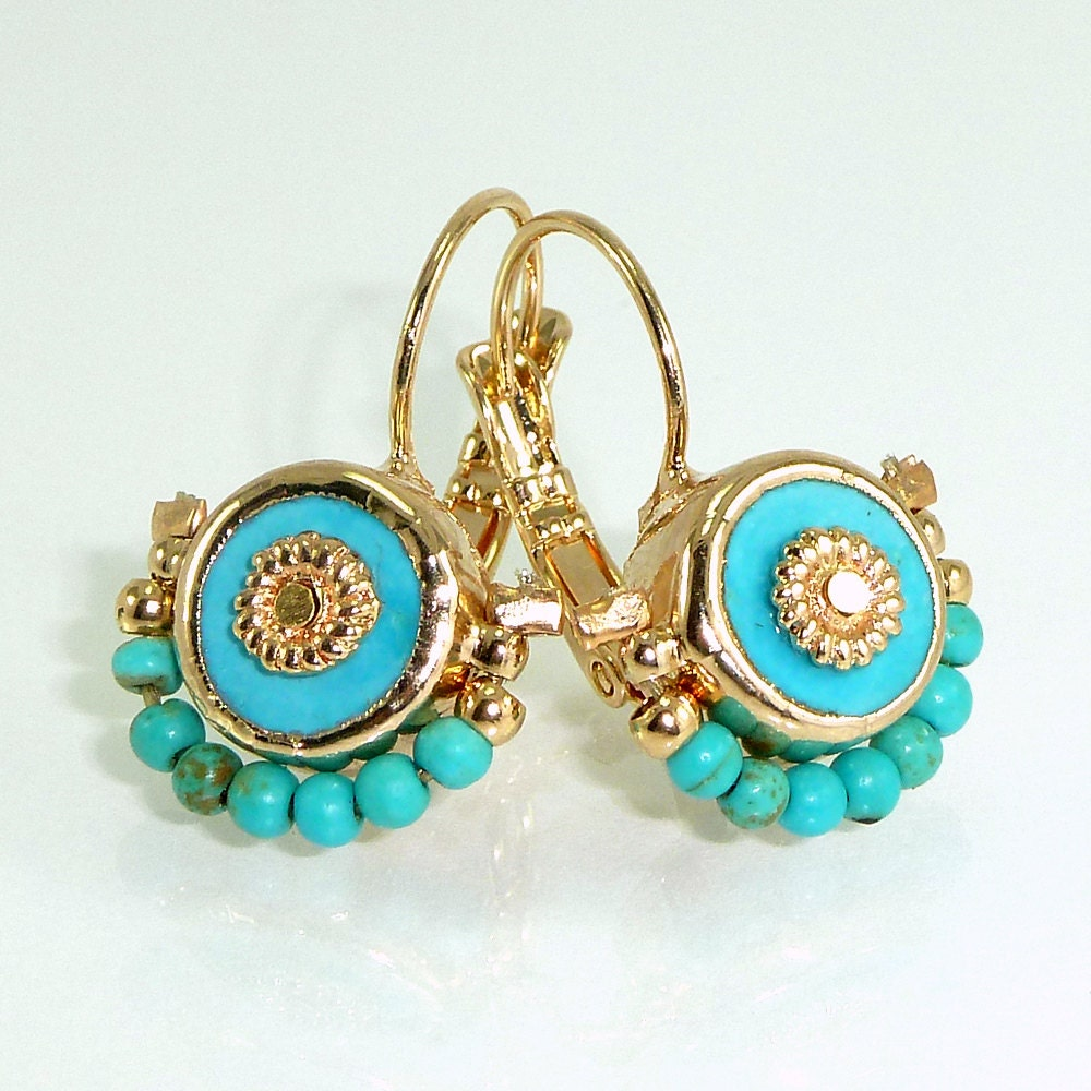 turquoise earrings turquoise gold dangle earrings by. Black Bedroom Furniture Sets. Home Design Ideas