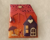 Pink Purple Orange Summer Heart Lucinda HOUSE PIN Collection L189