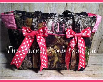 Girls Boutique Pink and Camo Diaper bag with FREE PERSONALIZATION