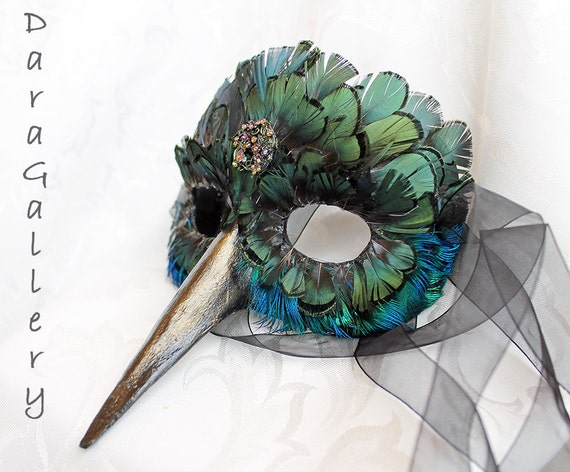 Hummingbird Mask, MADE TO ORDER Paper Mache and Feather Hummingbird Bird Masquerade Mask
