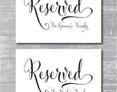 "INSTANT DOWNLOAD - Swash Reserved for Family Signs 5x7"" DIY Wedding Posters Printable"