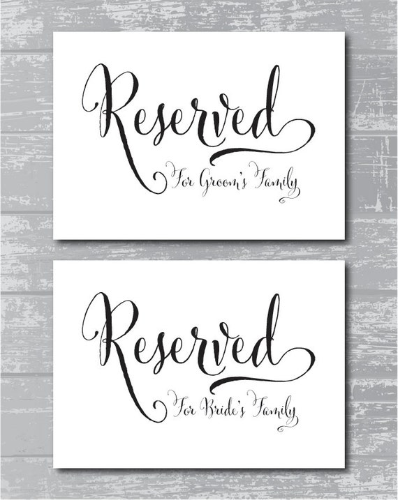 instant download swash reserved for family signs 5x7 diy wedding posters printable by. Black Bedroom Furniture Sets. Home Design Ideas