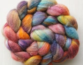 Merino Wool Roving\ Bleached Tussah Silk - Hand Painted Felting or Spinning Fiber