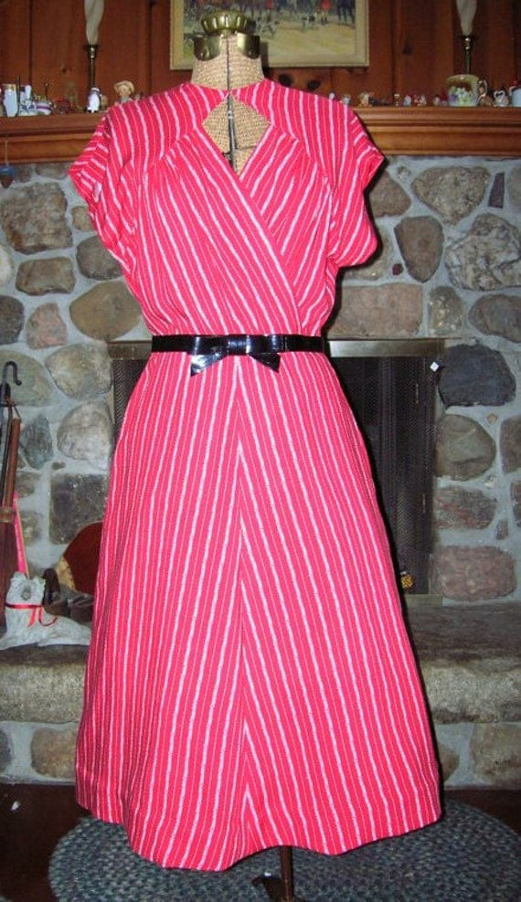 Red and White Reproduction 1940s Swing Dress