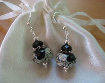 Lampwork Earrings, Fall Earrings, Autumn Earrings, Black White Lampwork Beads, Handmade Lampwork Beads, Beaded Earrings, Handmade Glass