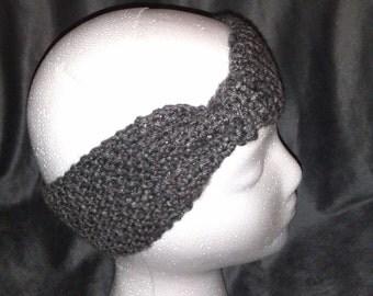 Hand Knit Gray Bow Headband