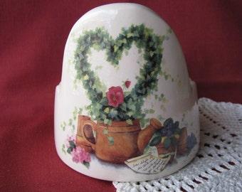 Ivy Heart Wreath Pansies Violets Watering Can Design Ceramic Candle Holder, Pillar, Votive, Tealight, Mini Planter