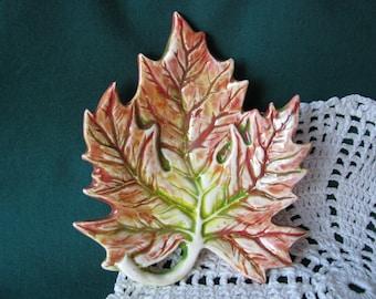 Maple Leaf Teabag Holder, Spoon Rest or Trinket Dish, Autumn, Fall