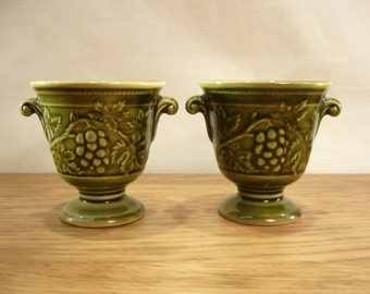 Vintage 1970s Holkham Pottery pair of small urns