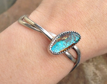 Just Beautiful Sterling Silver & Turquoise Navajo Large Cuff Bracelet Modern Layaway Available