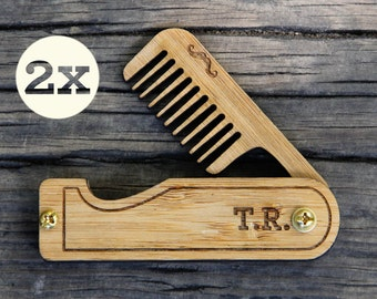 personalized pocket beard comb keychain grooming set made of. Black Bedroom Furniture Sets. Home Design Ideas