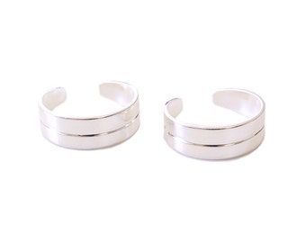2 Silver Kitten Cuff Knuckle Rings - Adjustable Midi Rings
