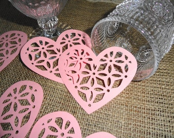Pink Lacy Valentine Heart Die cuts Set of 12