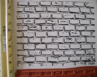 Brick Wall 4 x 5 inch  rubber stamp un-mounted scrapbooking rubber stamping brickwall background stamp