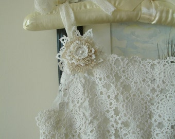 Flower Girl Dress, Up-cycled Vintage Lace and Tulle, Eco friendly