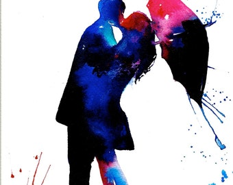 Love Kiss Rain Umbrella Art Print from Original Watercolor Painting, contemporary wall art illustration home decor