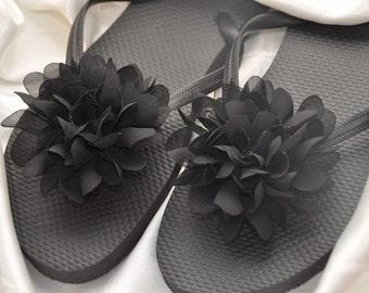 SALE!! Custom WEDDING Flip Flops Bridesmaid Flip Flops Bride Flip Flop, Simple & Elegant HUGE Flower, Bridesmaid Gifts, Beach Wedding