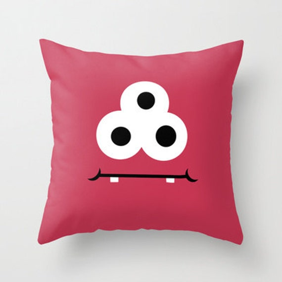 Red Monster Throw Pillow Cover Includes Pillow Insert Childs