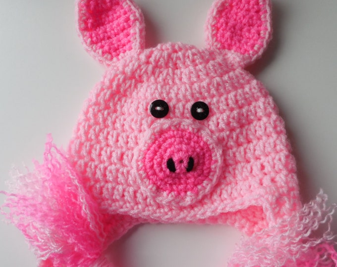 Baby Animal Hat - 6 to 9 Months Pig Hat - Photo Prop - Pink Baby Hat - Handmade Crochet - Baby Pig Hat - Ready to Ship