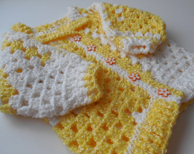 Baby Sweater - 3 to 6 Months - Yellow and White - Baby Girl Sweater - Handmade Crochet - Ready to Ship