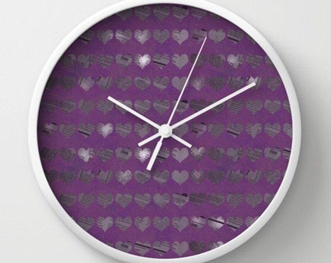 Purple Clock - Purple Hearts - Wall Clock - Newspaper Heart Art - Photo Art Clock - Unusual Clock - Made to Order