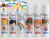 Rainbow Party Favor - Rainbow Theme Party - Girl Party Favors - Rainbow Girl Favor - Custom Lip Balm - Set of 6
