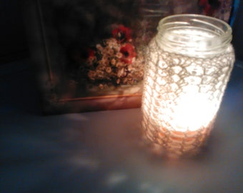 Jar candle cover for 350-450g jars or water glasses Jar cozy or glass cozy Crocheted jar cover Lace crocheted jar cover