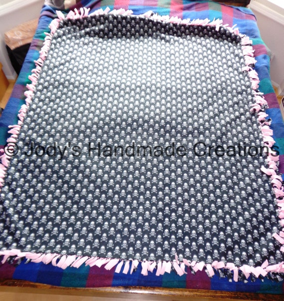 Large Handmade Fleece Tied Throw Blanket 54 X 66