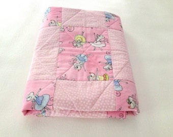 Baby quilt, Baby blanket, Pink with White Flower Polka Dots and Mouse Ballerinas- Hand Made- Darling!