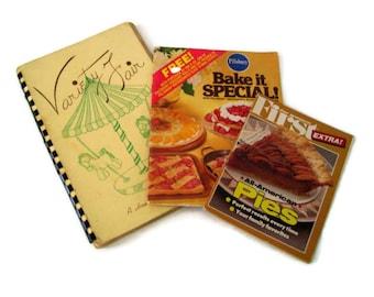 Vintage Cookbooks, (3) Fundraising Cookbook, Pillsbury, All American Pies, Lebanon N.H., Recipes, Vintage Kitchen,