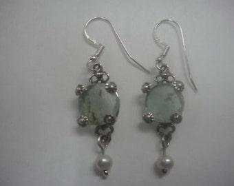 Dangle Earrings, 925 Sterling Silver Earrings, Ancient Roman Glass Earrings, Pearl Earrings, Woman Earrings, Unique Jewelry