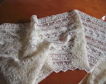 cream embroidered lace fabric, cotton lace trim, retro floral lace fabric, wscx017m