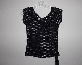 mesh black crop top