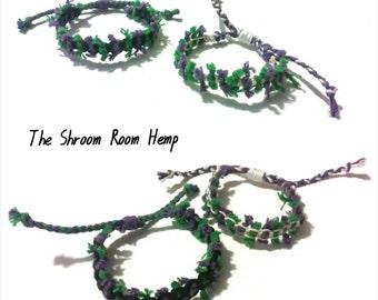 SALE // Shag Adjustable Bracelets Pair or Single Black, Purple and Green Hemp and White, Purple and Green Hemp